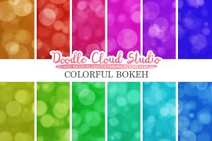 Colorful Bokeh digital paper