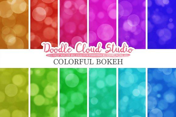 Colorful Bokeh Digital Paper