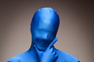 Man Wearing Full Blue Nylon Bodysuit