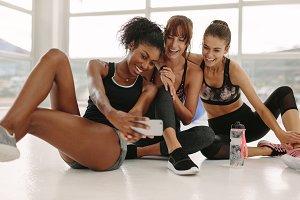 Group of sportive women