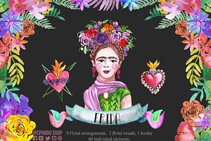 Frida Kahlo watercolor clip art