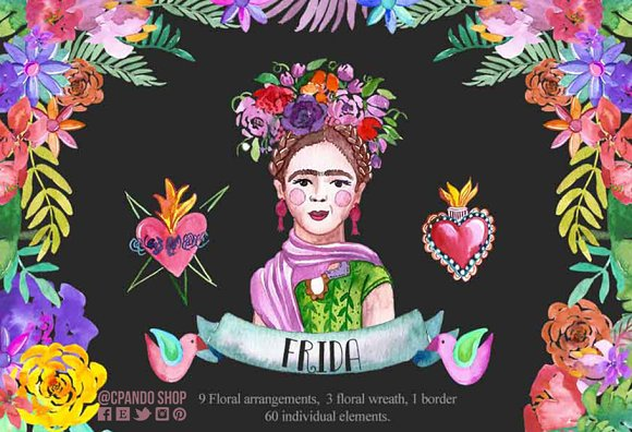 Frida Kahlo Watercolor Clip Art