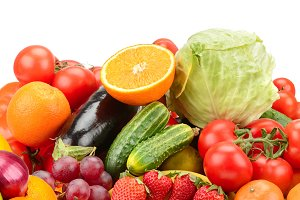 Panorama fresh fruits and vegetables