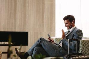 Businessman making a video call