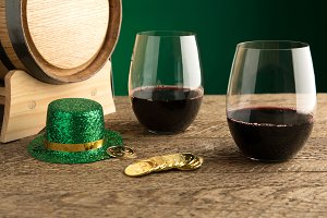St. Patrick's Day Wine - Close Up
