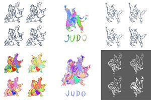 Hand Drawn Judo Throw