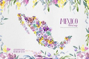 Mexico flower map clip art