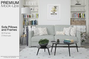 Sofa, Pillows & Frames Mockup Pack