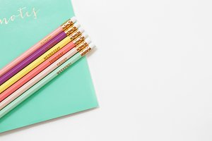 Mint Office Notebook Pencils Stock