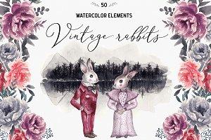 Wedding Watercolor Rabbits