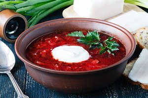 Borscht, vegetarian beetroot soup