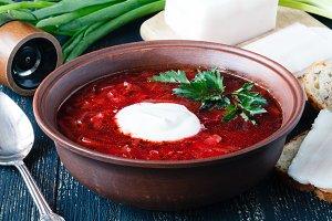 Borscht, vegetarian beetroot soup
