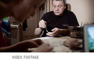 Family making pelmeni