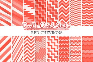 Red Chevron digital paper