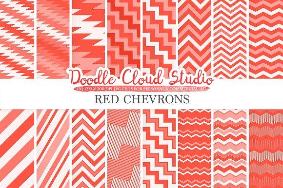 Red Chevron Digital Paper