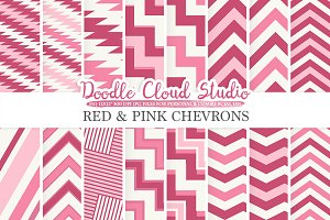 Red and Pink Chevron digital paper