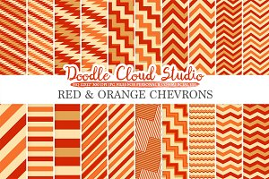 Red and Orange Chevron digital paper