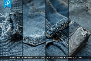 4 Close Up Photos of Destroyed Jeans