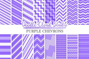 Purple Chevron digital paper