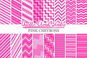 Pink Chevron digital paper