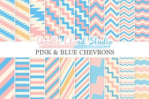 Pink and Blue Chevron digital paper