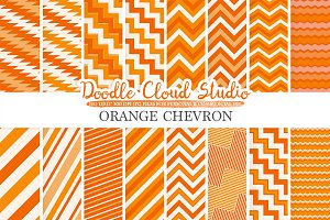 Orange Chevron digital paper