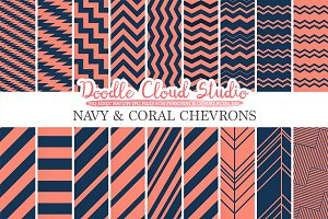 Navy and Coral Chevron digital paper
