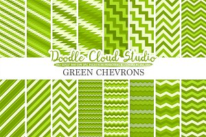 Green Chevron digital paper
