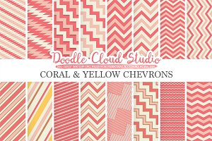Coral and Yellow Chevron