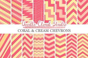 Coral and Cream Chevron