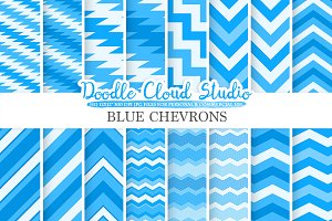 Blue Chevron digital paper