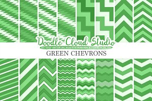 Dark Green Chevron digital paper