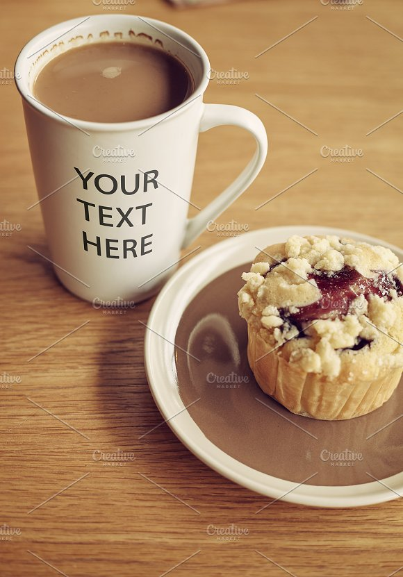Coffee In Mug And Muffin MOCKUP
