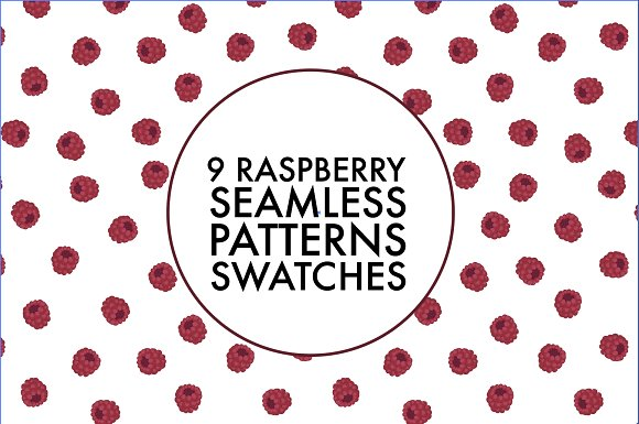9 Raspberry Seamless Pattern Swatche