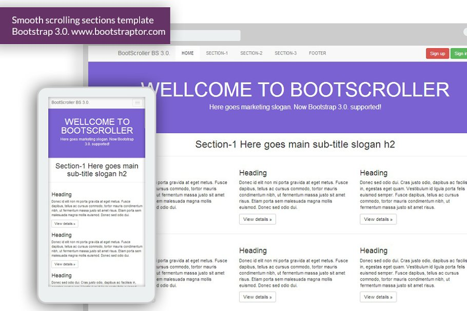 Start - Responsive One Page Template ~ Landing Page Templates
