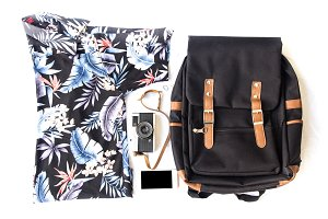 Flat lay travel set