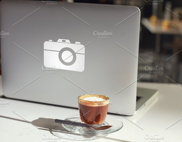 Modern Laptop And Coffee Cup