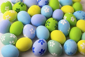 Pastel colored Easter eggs backgroun