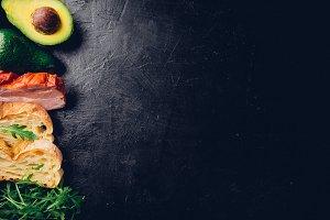 Avocado sandwich on homemade ciabatt