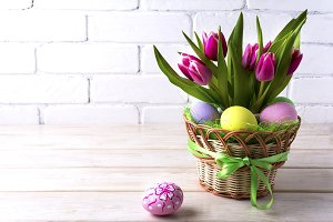 Easter table centerpiece with tulips