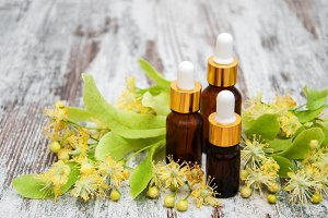 bottles of essential linden oil