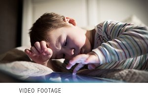 Boy using touchpad