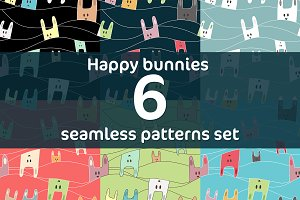 Happy bunnies 6 seamless patterns