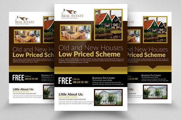 real estate property flyer template flyer templates creative market