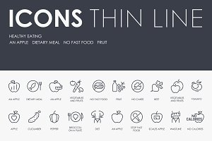 Healthy eating thinline icons