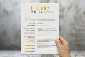 Yellow 2 in 1 Word resume pack