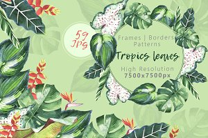 Tropics leaves JPG watercolor set