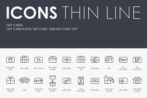 Gift cards thinline icons