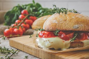 Ciabatta sandwich with tomatoes