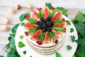 carrot walnut cake with figs